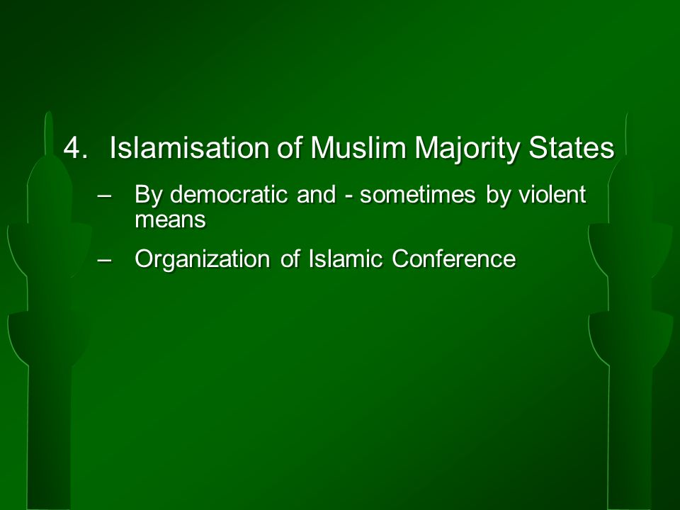 4.Islamisation of Muslim Majority States –By democratic and - sometimes by violent means –Organization of Islamic Conference 4.Islamisation of Muslim Majority States –By democratic and - sometimes by violent means –Organization of Islamic Conference