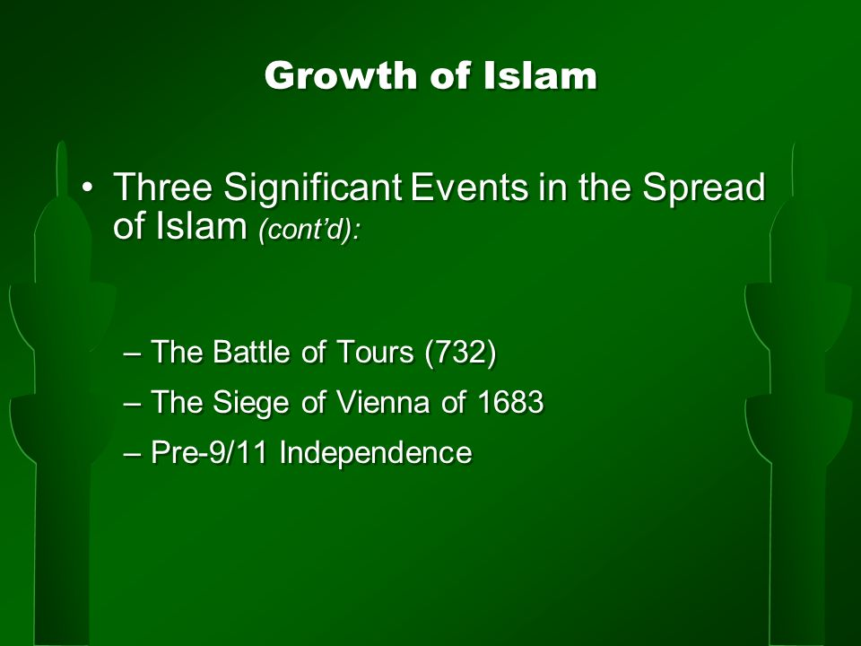 Growth of Islam Three Significant Events in the Spread of Islam (cont'd): –The Battle of Tours (732) –The Siege of Vienna of 1683 –Pre-9/11 Independence Three Significant Events in the Spread of Islam (cont'd): –The Battle of Tours (732) –The Siege of Vienna of 1683 –Pre-9/11 Independence