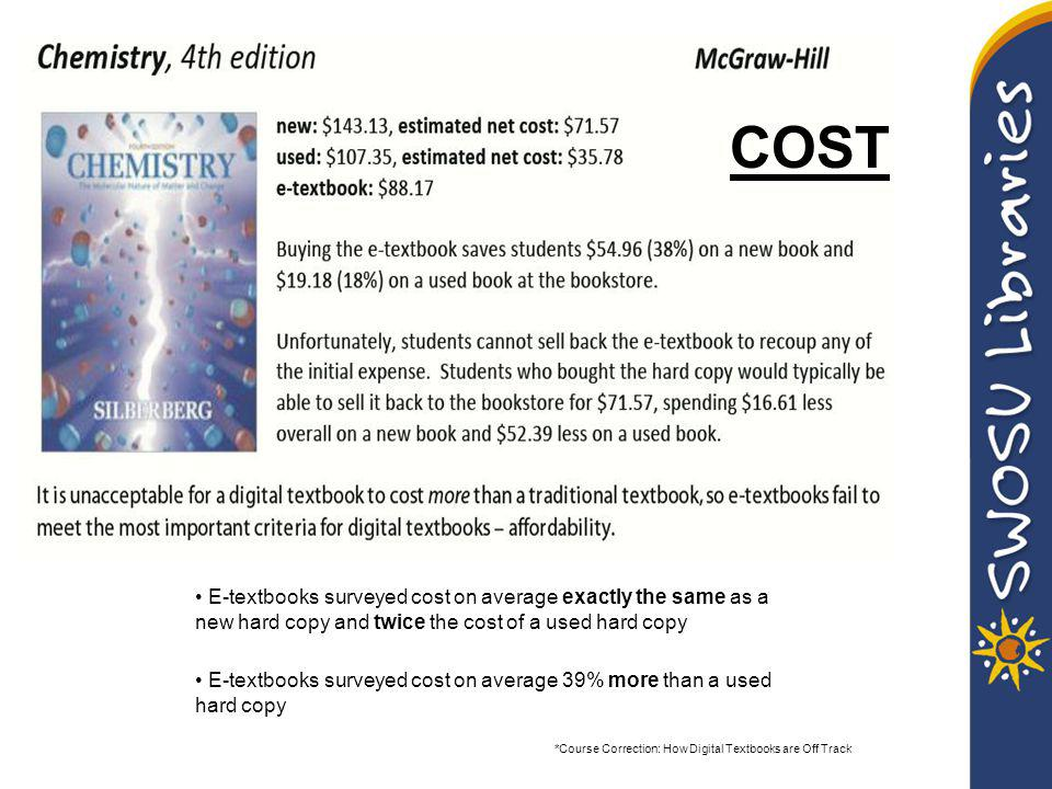 E-textbooks surveyed cost on average exactly the same as a new hard copy and twice the cost of a used hard copy E-textbooks surveyed cost on average 39% more than a used hard copy COST *Course Correction: How Digital Textbooks are Off Track