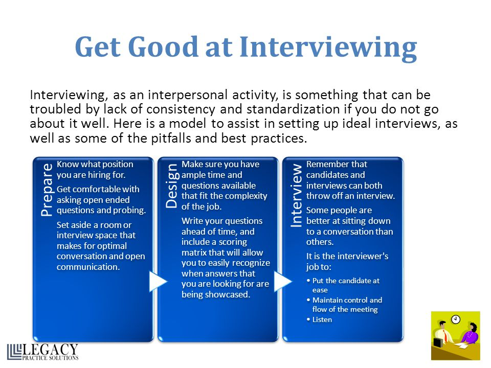 Get Good at Interviewing Interviewing, as an interpersonal activity, is something that can be troubled by lack of consistency and standardization if y