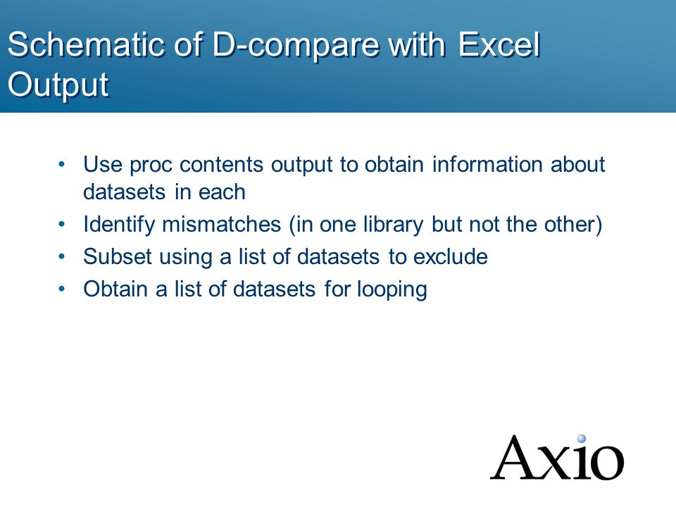 Schematic of D-compare with Excel Output Use proc contents output to obtain information about datasets in each Identify mismatches (in one library but not the other) Subset using a list of datasets to exclude Obtain a list of datasets for looping