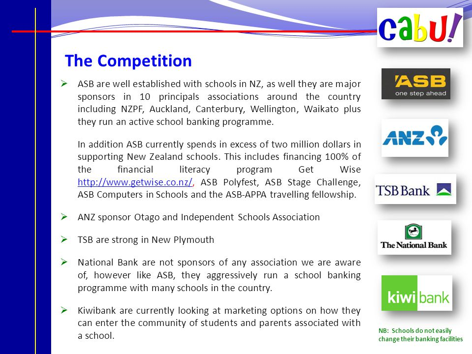 The Competition  ASB are well established with schools in NZ, as well they are major sponsors in 10 principals associations around the country including NZPF, Auckland, Canterbury, Wellington, Waikato plus they run an active school banking programme.