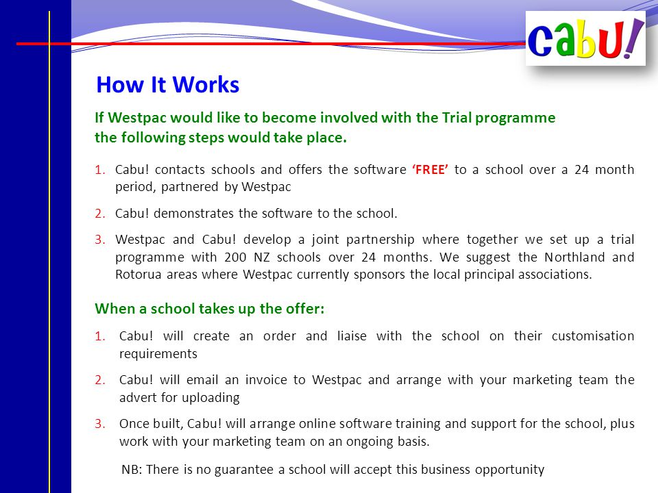 The Marketing Costs A fee of $1495 + GST per school that joins the Westpac Business Partnership Initiative.