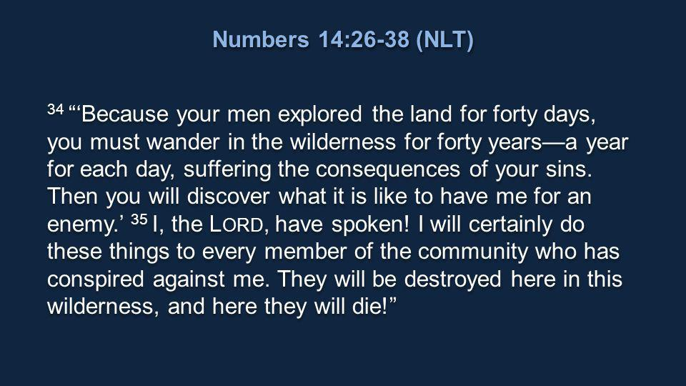 34 'Because your men explored the land for forty days, you must wander in the wilderness for forty years—a year for each day, suffering the consequences of your sins.