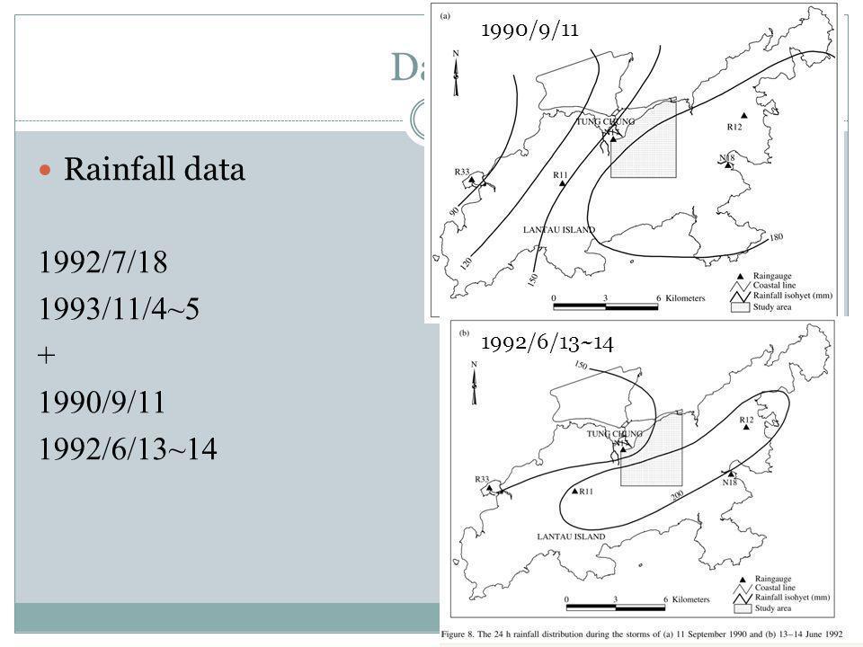 Data Rainfall data 1992/7/18 1993/11/4~5 + 1990/9/11 1992/6/13~14 1990/9/11 1992/6/13~14