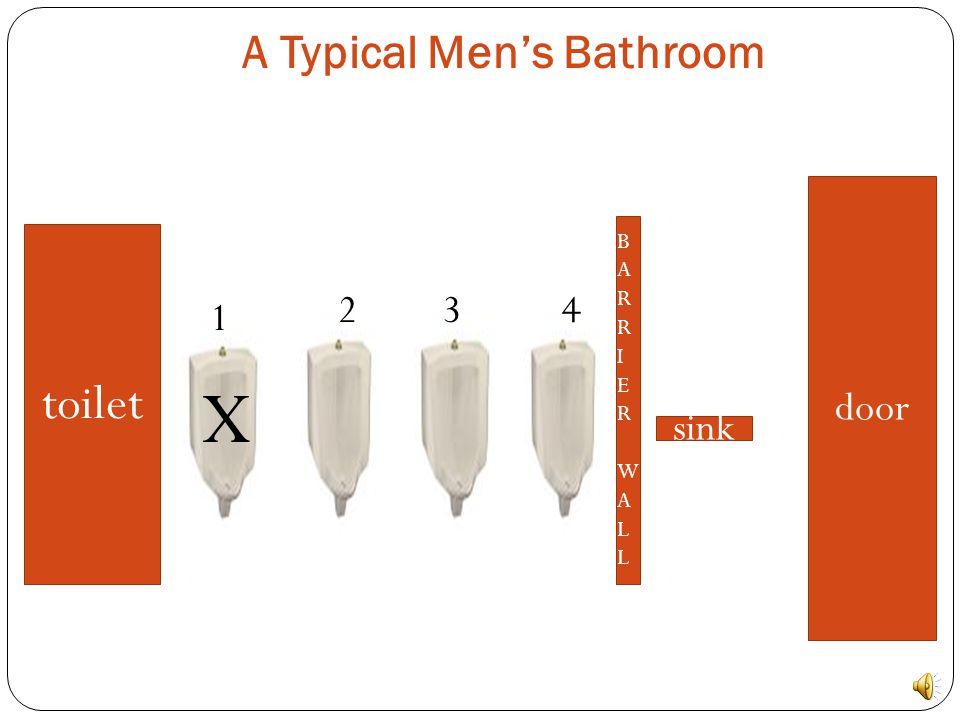 A Typical Men's Bathroom toilet BARRIERWALLBARRIERWALL sink door 1234
