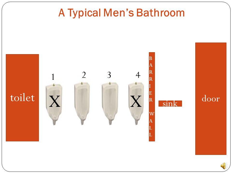 A Typical Men's Bathroom toilet BARRIERWALLBARRIERWALL sink door 1 234 X