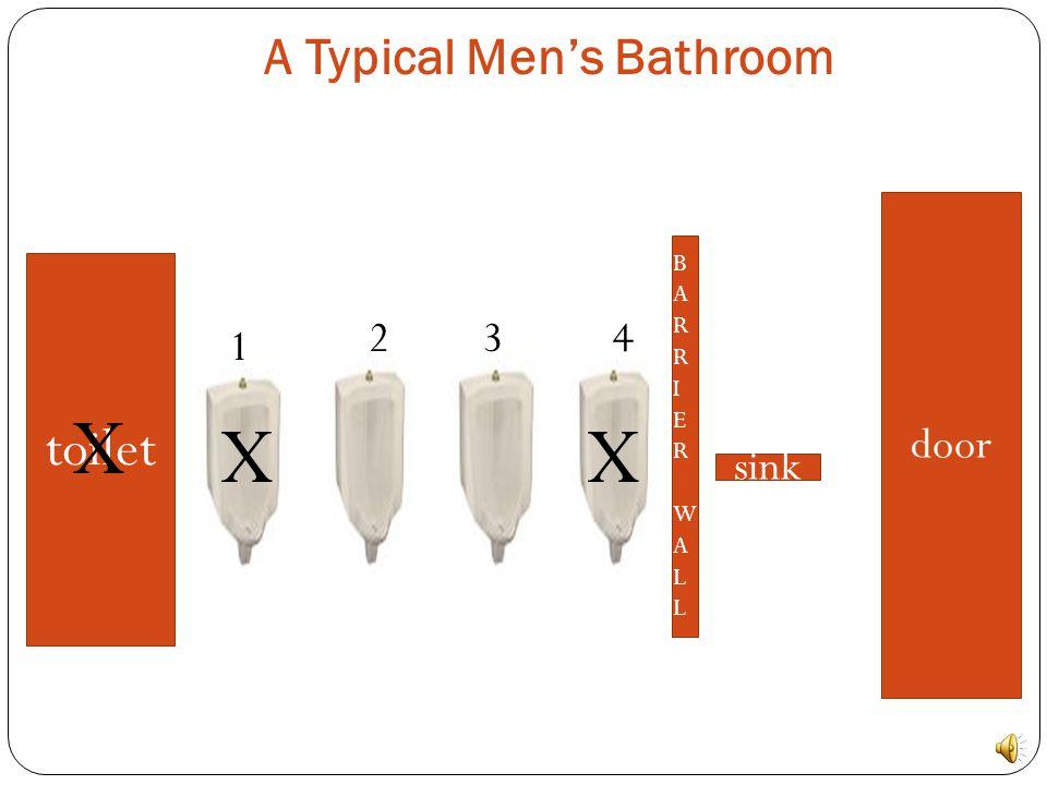 A Typical Men's Bathroom toilet BARRIERWALLBARRIERWALL sink door 1 234 XX