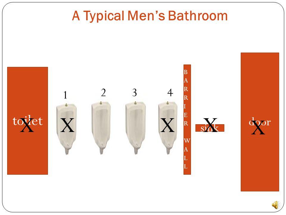 A Typical Men's Bathroom toilet BARRIERWALLBARRIERWALL sink door 1 234 XXXX