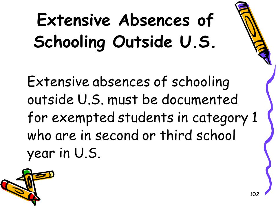 102 Extensive Absences of Schooling Outside U.S. Extensive absences of schooling outside U.S. must be documented for exempted students in category 1 w