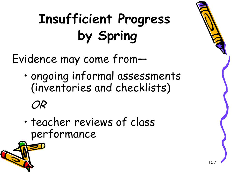 107 Insufficient Progress by Spring Evidence may come from— ongoing informal assessments (inventories and checklists) OR teacher reviews of class perf
