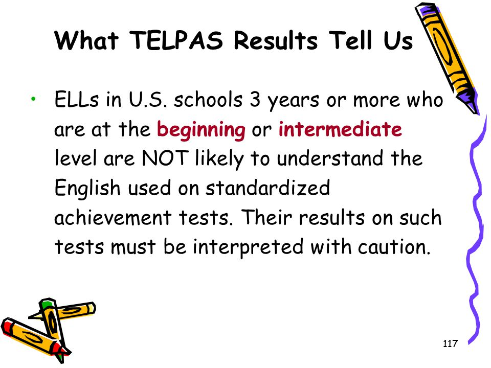 117 What TELPAS Results Tell Us ELLs in U.S. schools 3 years or more who are at the beginning or intermediate level are NOT likely to understand the E