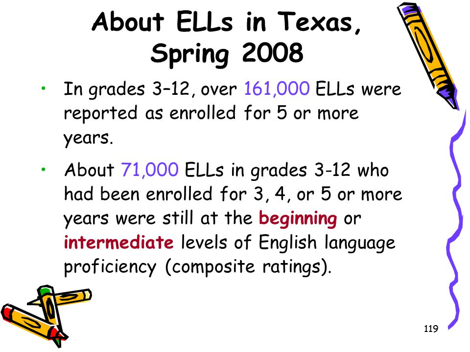119 About ELLs in Texas, Spring 2008 In grades 3–12, over 161,000 ELLs were reported as enrolled for 5 or more years. About 71,000 ELLs in grades 3-12
