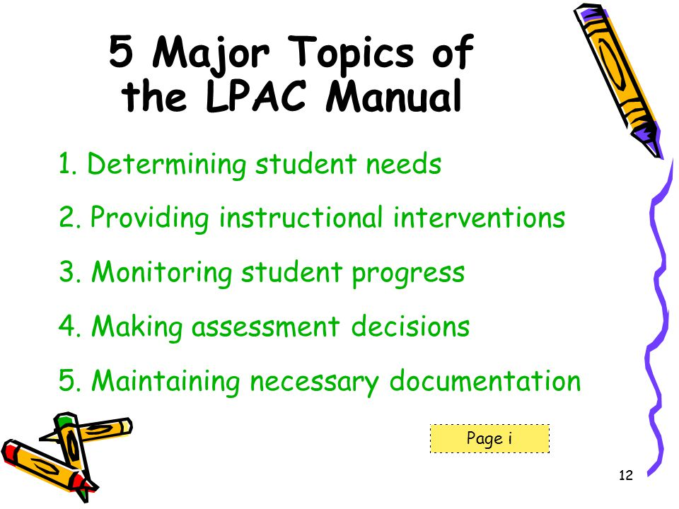 12 5 Major Topics of the LPAC Manual 1. Determining student needs 2. Providing instructional interventions 3. Monitoring student progress 4. Making as