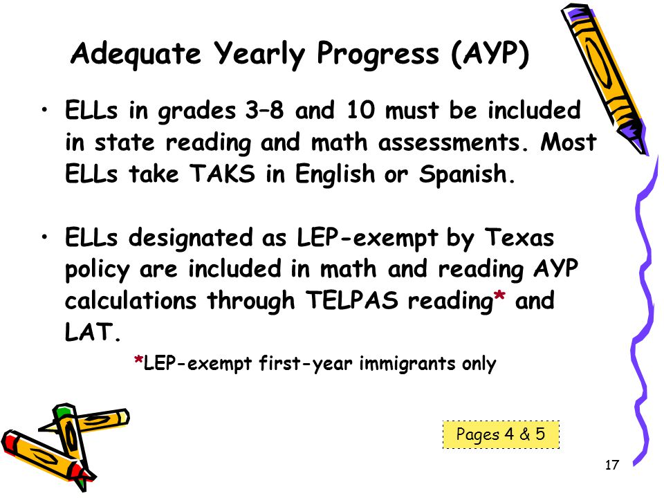 17 Adequate Yearly Progress (AYP) ELLs in grades 3–8 and 10 must be included in state reading and math assessments. Most ELLs take TAKS in English or