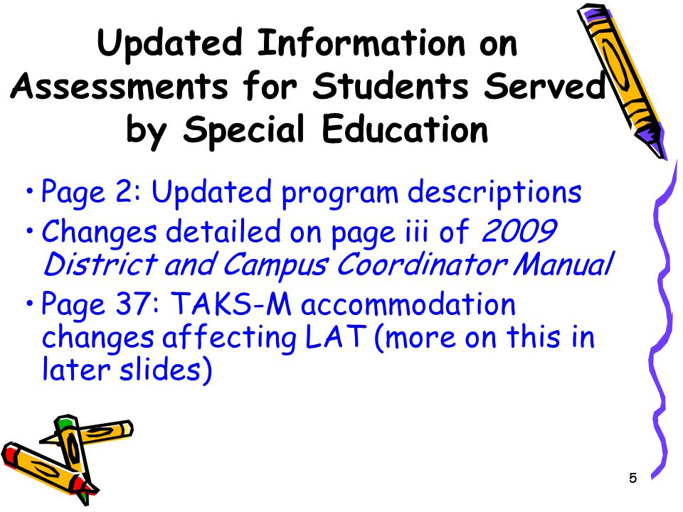 86 2008-2009 Changes in LAT Administrations of TAKS-M Reading aloud test questions: Reading aloud questions and answer choices on TAKS–M reading tests is no longer a standard test administration procedure.