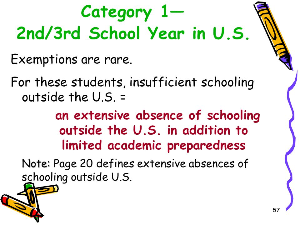 57 Category 1— 2nd/3rd School Year in U.S. Exemptions are rare. For these students, insufficient schooling outside the U.S. = an extensive absence of