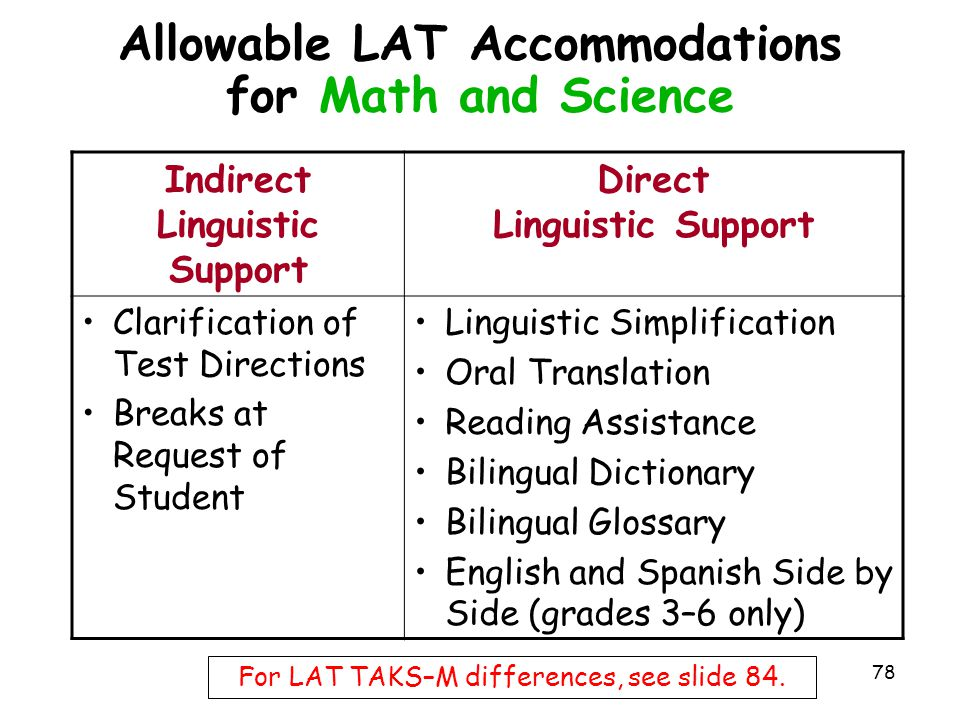 Allowable LAT Accommodations for Math and Science Indirect Linguistic Support Direct Linguistic Support Clarification of Test Directions Breaks at Req