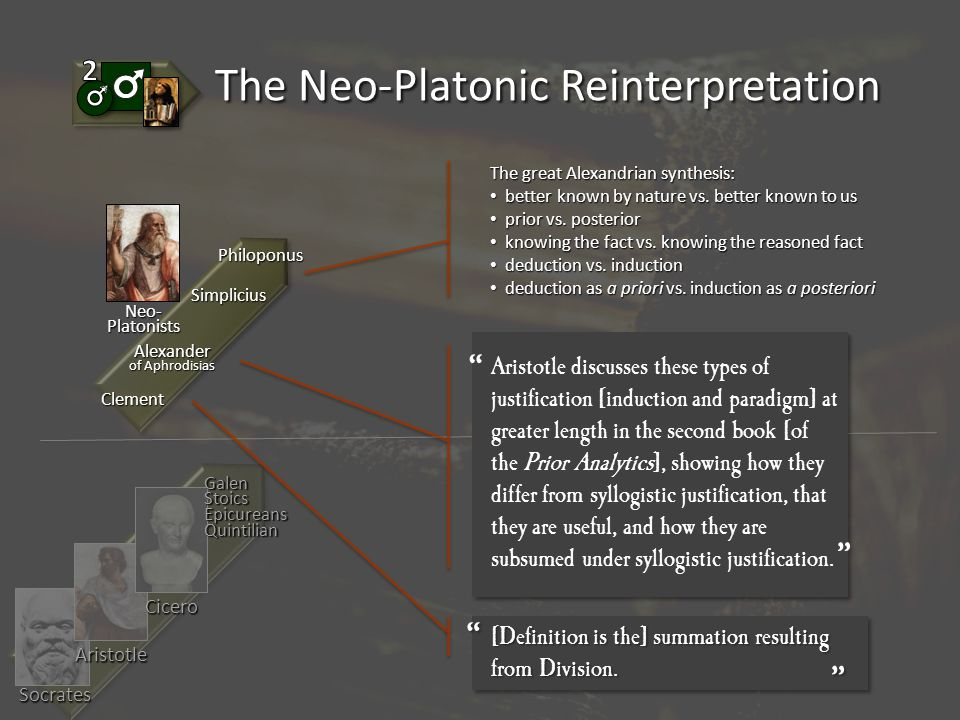 Socrates Aristotle Cicero GalenStoicsEpicureansQuintilian The Neo-Platonic Reinterpretation Aristotle discusses these types of justification [induction and paradigm] at greater length in the second book [of the Prior Analytics], showing how they differ from syllogistic justification, that they are useful, and how they are subsumed under syllogistic justification.