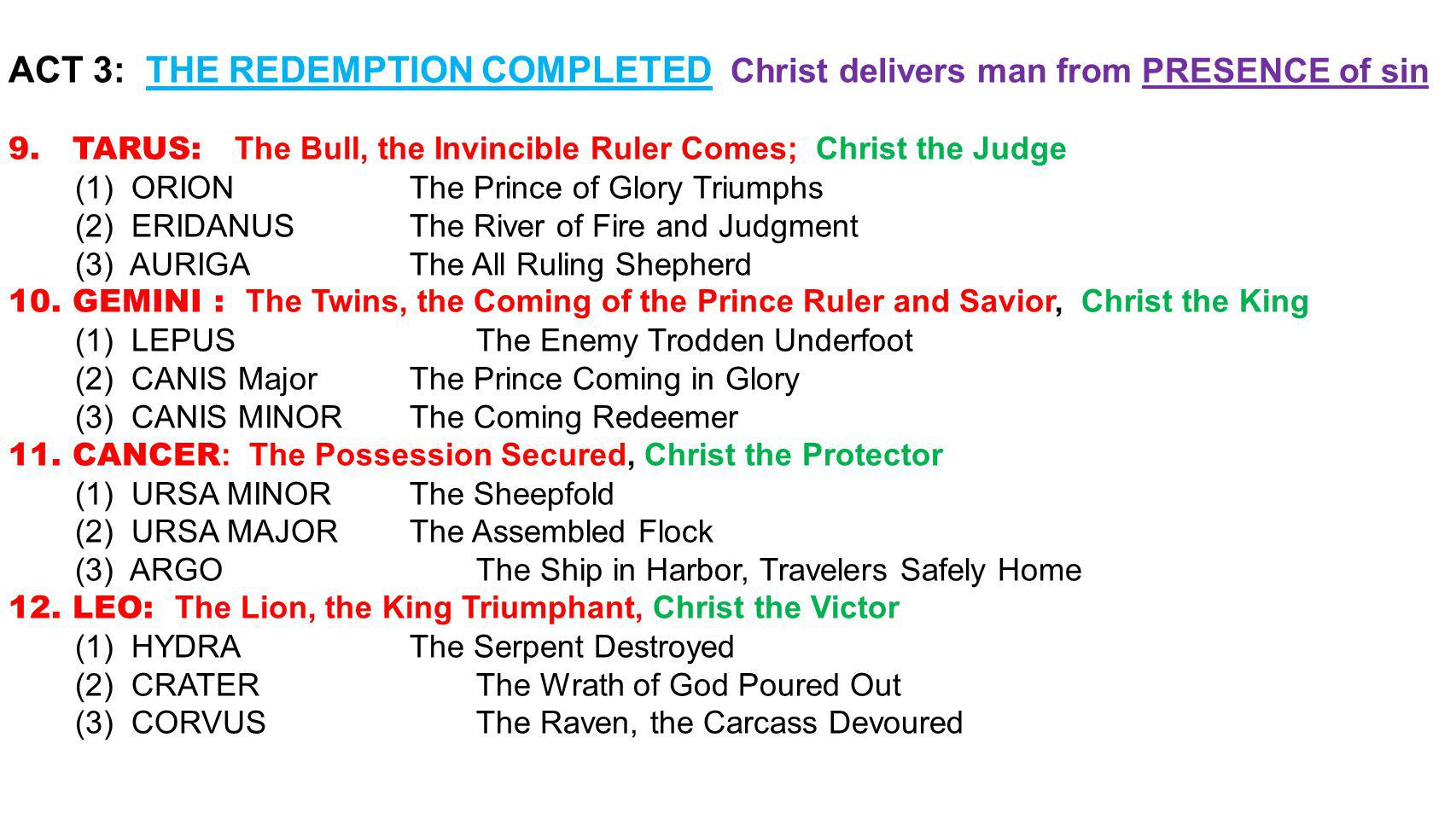 ACT 3: THE REDEMPTION COMPLETED Christ delivers man from PRESENCE of sin 9.