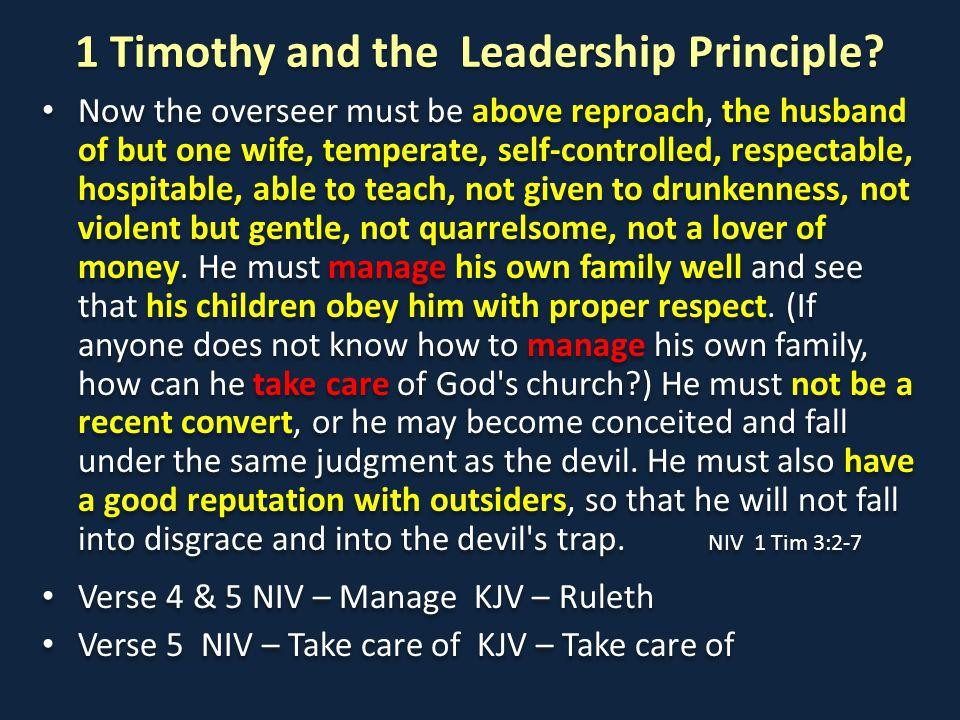 1 Timothy and the Leadership Principle.