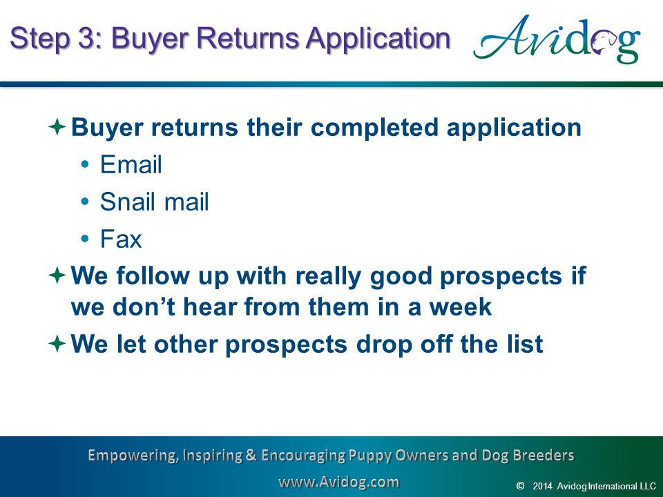 2014AvidogInternationalLLC 2014 Avidog International LLC © Step 3: Buyer Returns Application  Buyer returns their completed application  Email  Sna