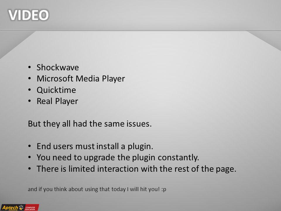 Shockwave Microsoft Media Player Quicktime Real Player But they all had the same issues.
