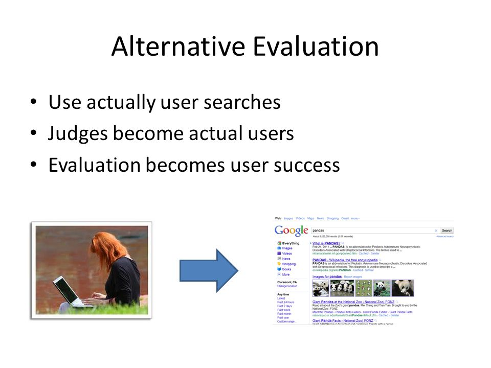 Alternative Evaluation Use actually user searches Judges become actual users Evaluation becomes user success