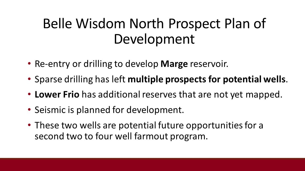 Belle Wisdom North Prospect Plan of Development Re-entry or drilling to develop Marge reservoir.