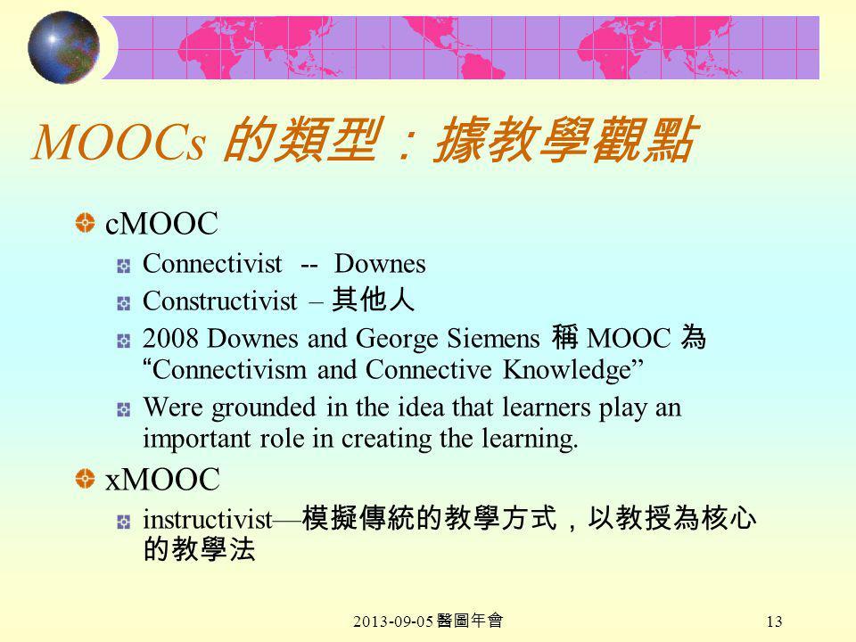 2013-09-05 醫圖年會 13 MOOCs 的類型:據教學觀點 cMOOC Connectivist -- Downes Constructivist – 其他人 2008 Downes and George Siemens 稱 MOOC 為 Connectivism and Connective Knowledge Were grounded in the idea that learners play an important role in creating the learning.
