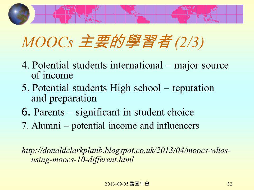 2013-09-05 醫圖年會 32 MOOCs 主要的學習者 (2/3) 4.
