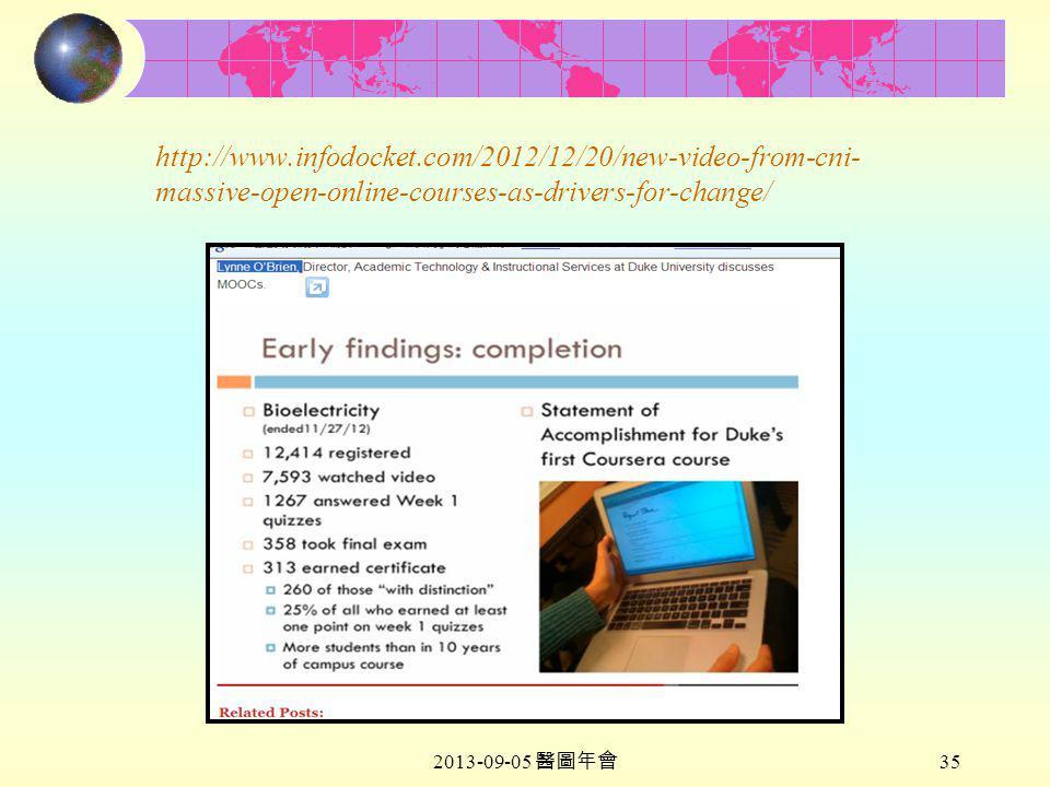 2013-09-05 醫圖年會 35 http://www.infodocket.com/2012/12/20/new-video-from-cni- massive-open-online-courses-as-drivers-for-change/