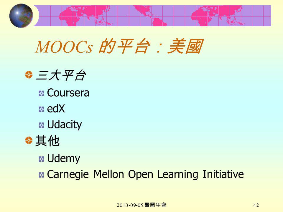 2013-09-05 醫圖年會 42 MOOCs 的平台:美國 三大平台 Coursera edX Udacity 其他 Udemy Carnegie Mellon Open Learning Initiative
