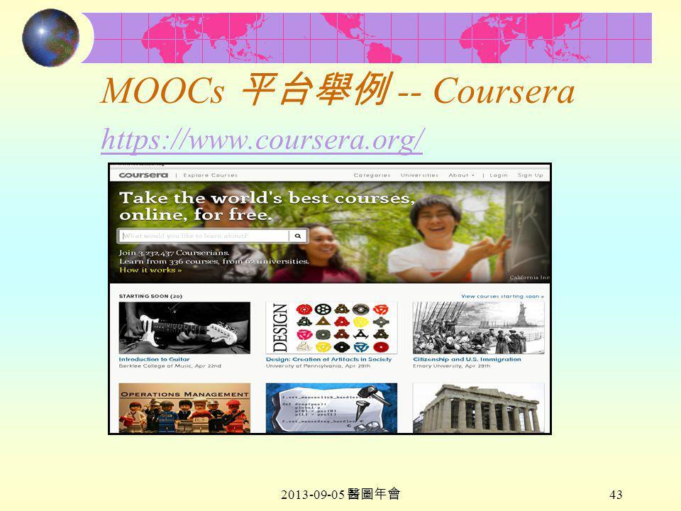 2013-09-05 醫圖年會 43 MOOCs 平台舉例 -- Coursera https://www.coursera.org/ https://www.coursera.org/