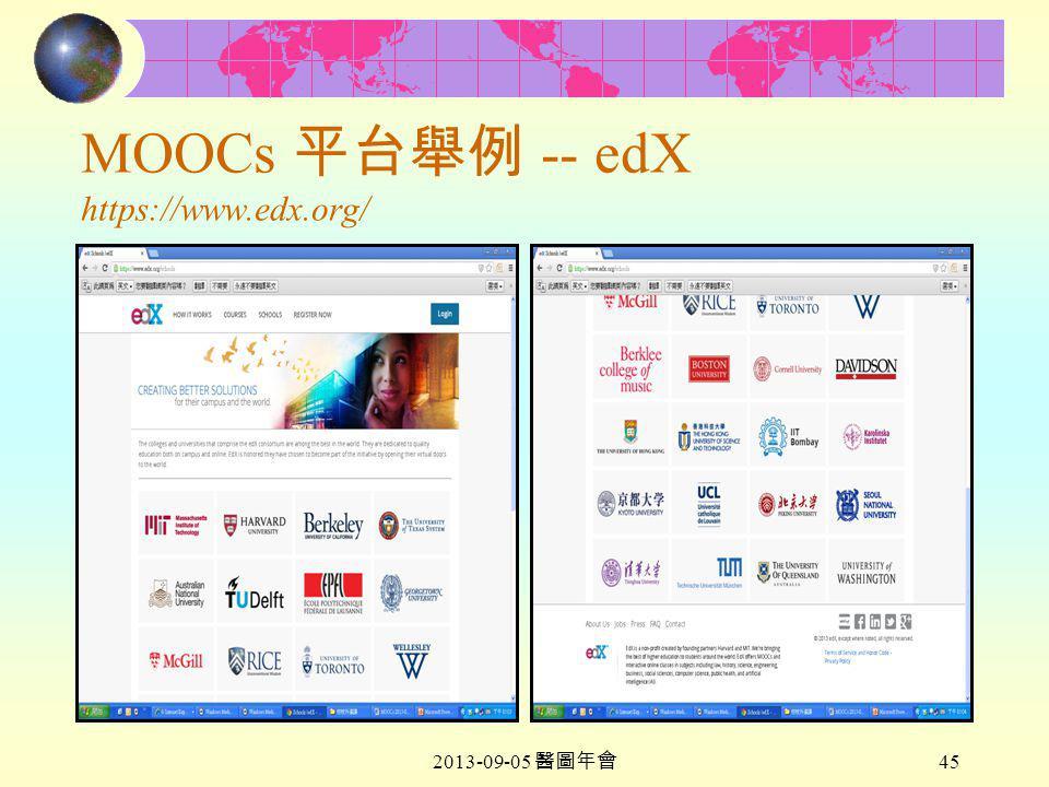 2013-09-05 醫圖年會 45 MOOCs 平台舉例 -- edX https://www.edx.org/
