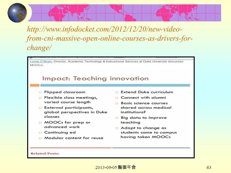 2013-09-05 醫圖年會 63 http://www.infodocket.com/2012/12/20/new-video- from-cni-massive-open-online-courses-as-drivers-for- change/