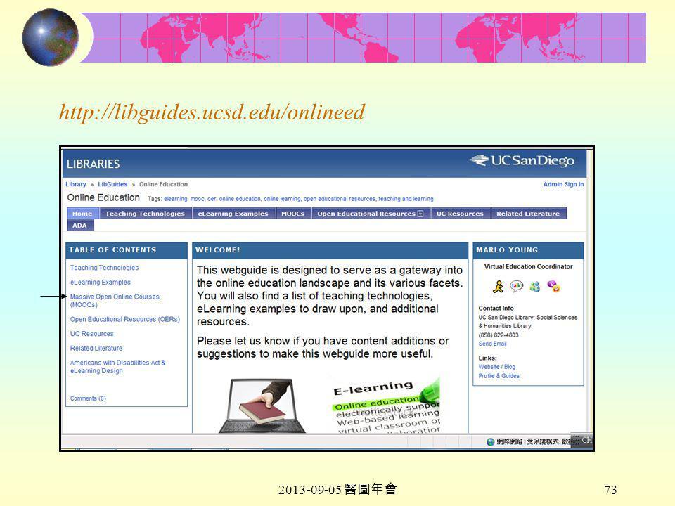 2013-09-05 醫圖年會 73 http://libguides.ucsd.edu/onlineed