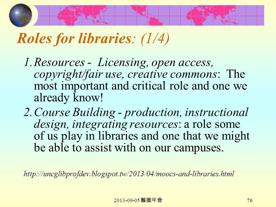 2013-09-05 醫圖年會 76 Roles for libraries: (1/4) 1.Resources - Licensing, open access, copyright/fair use, creative commons: The most important and critical role and one we already know.