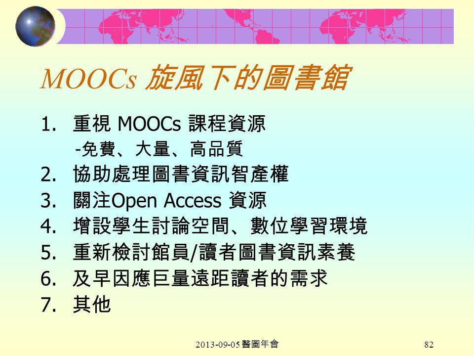 2013-09-05 醫圖年會 82 MOOCs 旋風下的圖書館 1. 重視 MOOCs 課程資源 - 免費 、大量、高品質 2.