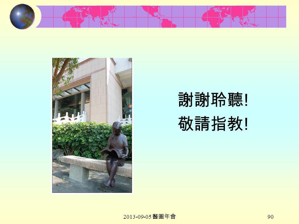 2013-09-05 醫圖年會 90 謝謝聆聽 ! 敬請指教 !
