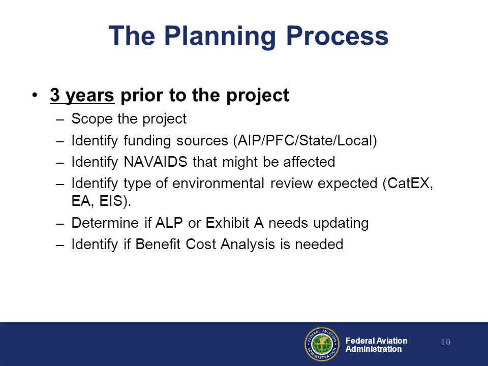 Federal Aviation Administration The Planning Process 3 years prior to the project –Scope the project –Identify funding sources (AIP/PFC/State/Local) –Identify NAVAIDS that might be affected –Identify type of environmental review expected (CatEX, EA, EIS).