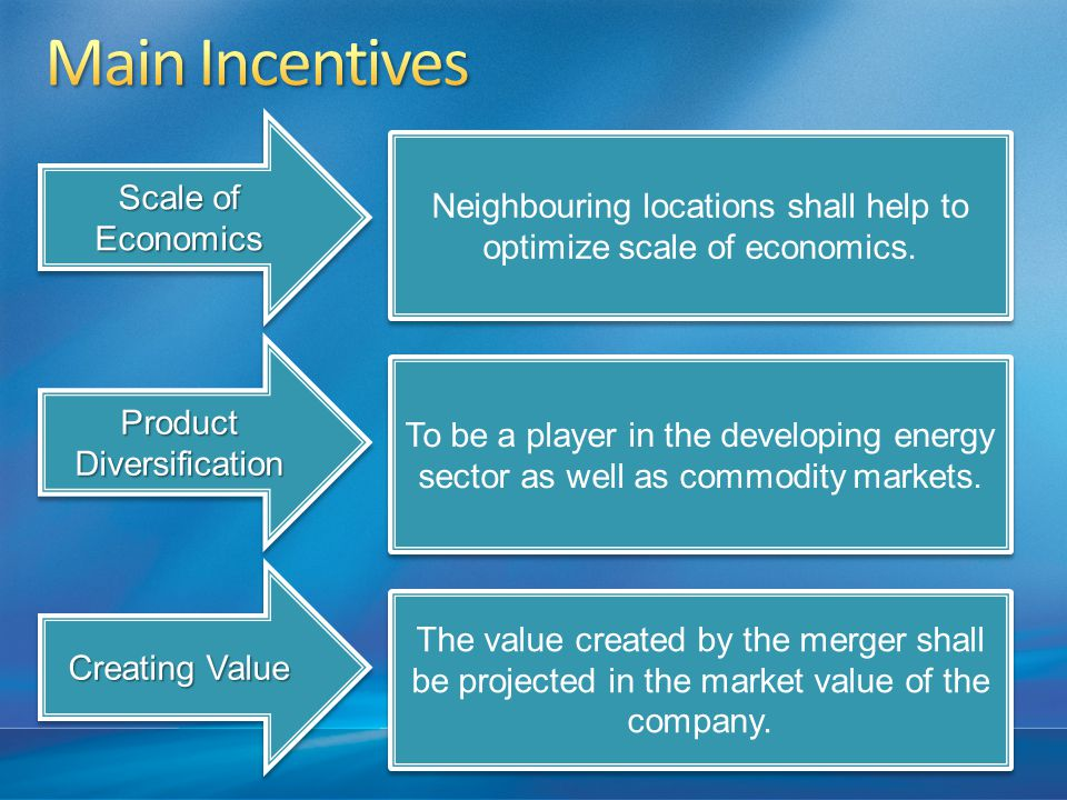 Scale of Economics Product Diversification Creating Value Neighbouring locations shall help to optimize scale of economics.