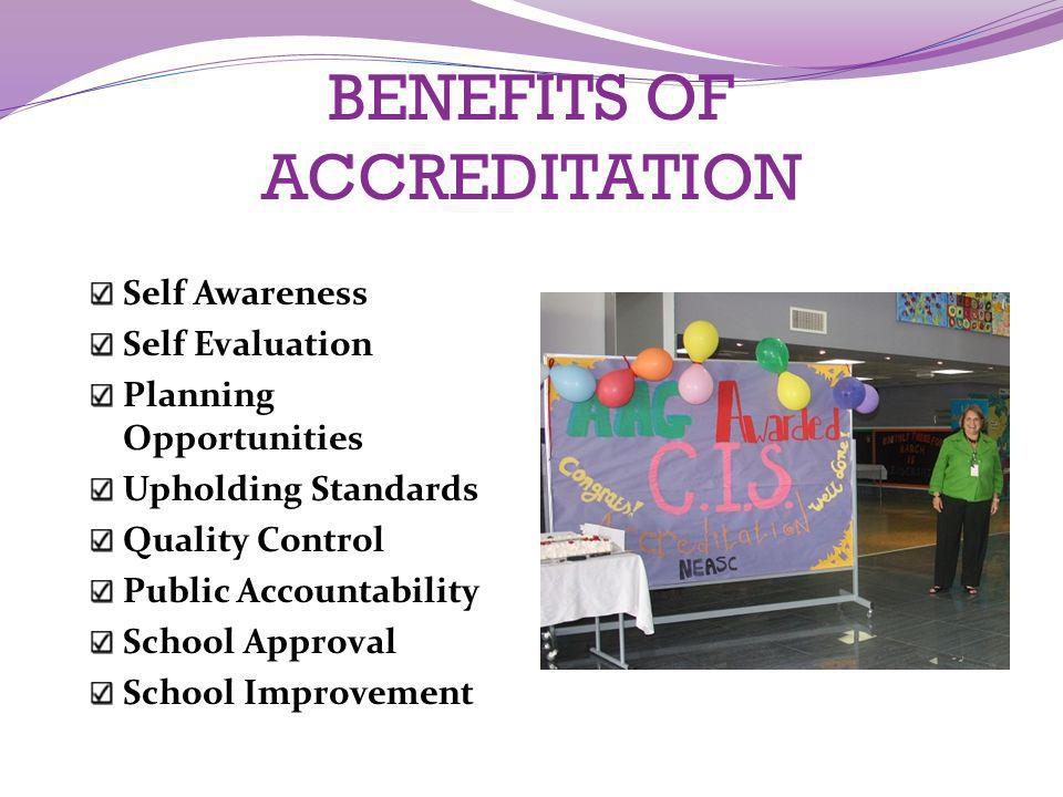 BENEFITS OF ACCREDITATION Self Awareness Self Evaluation Planning Opportunities Upholding Standards Quality Control Public Accountability School Appro