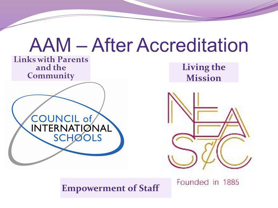 AAM – After Accreditation Links with Parents and the Community Empowerment of Staff Living the Mission