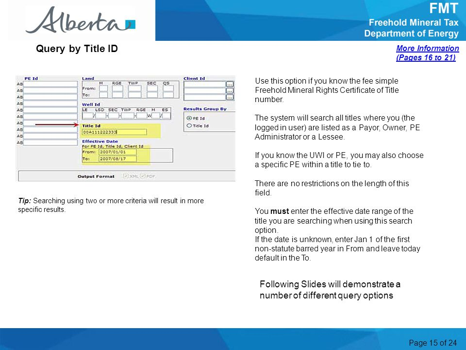 Page 15 of 24 Tip: Searching using two or more criteria will result in more specific results.