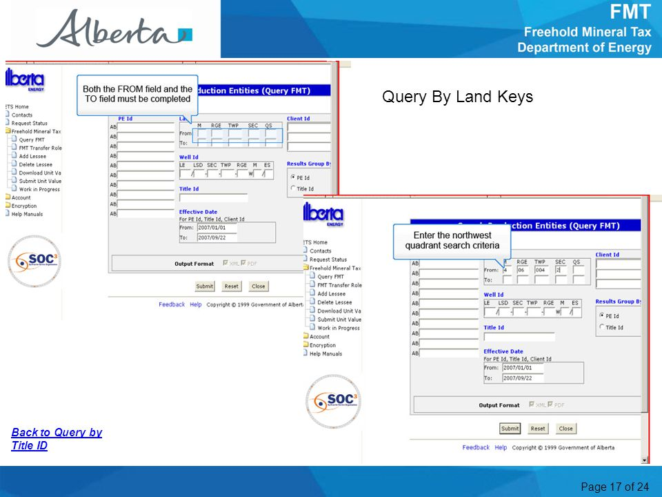 Page 17 of 24 Back to Query by Title ID Query By Land Keys More Information2