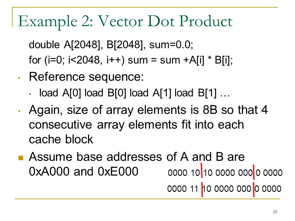 30 Example 2: Vector Dot Product double A[2048], B[2048], sum=0.0; for (i=0; i<2048, i++) sum = sum +A[i] * B[i]; Reference sequence: load A[0] load B