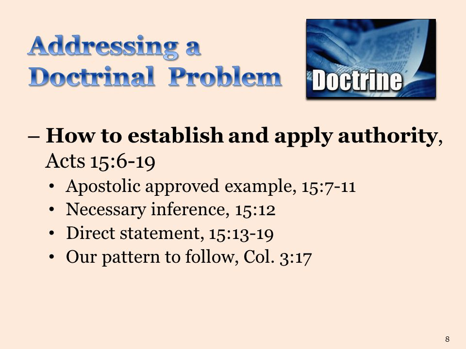 – How to establish and apply authority, Acts 15:6-19 Apostolic approved example, 15:7-11 Necessary inference, 15:12 Direct statement, 15:13-19 Our pattern to follow, Col.