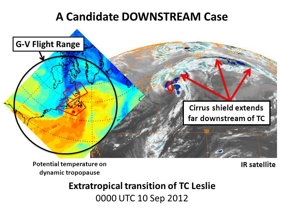 Extratropical transition of TC Leslie 0000 UTC 10 Sep 2012 9 6 Cirrus shield extends far downstream of TC G-V Flight Range IR satellite A Candidate DO