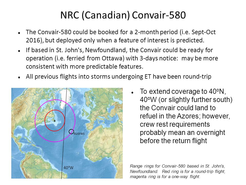 NRC (Canadian) Convair-580 The Convair-580 could be booked for a 2-month period (i.e. Sept-Oct 2016), but deployed only when a feature of interest is